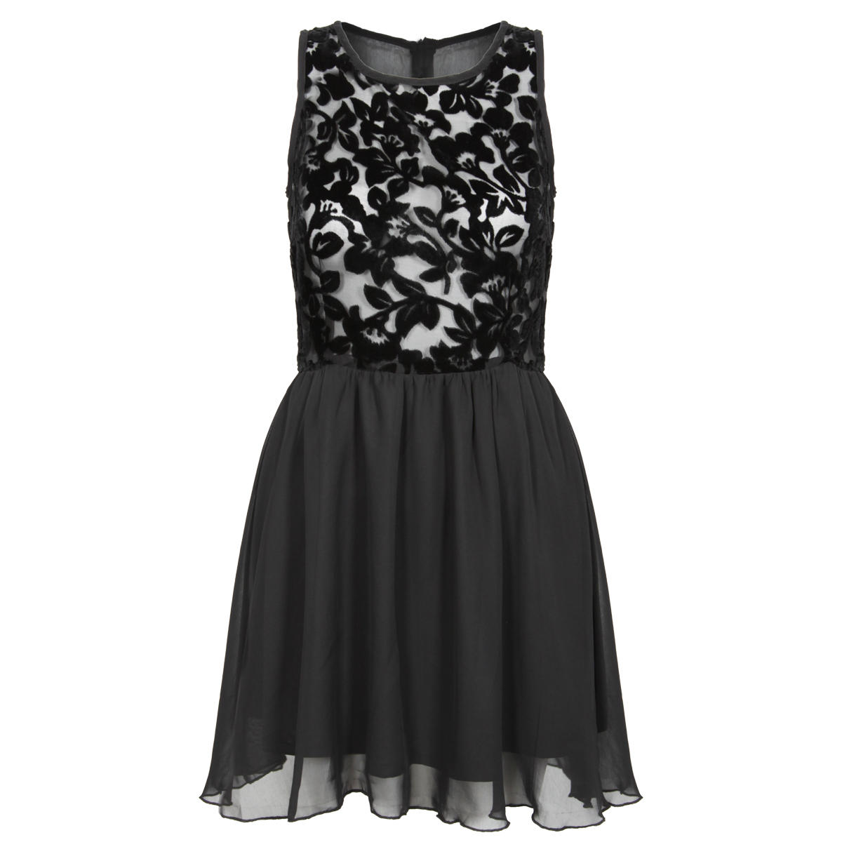 Black Floral Print Mesh Dress Preview